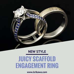 Juicy Scaffold Engagement Ring with Blue Sapphires and Round White Diamond